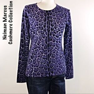 Neiman Marcus Cashmere Sweater Purple Animal Print